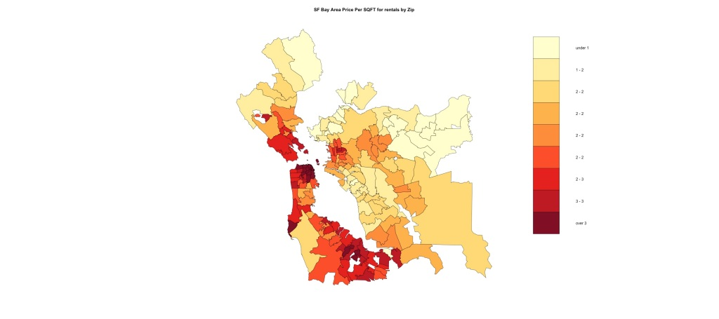 Mapping Current Average Price Per Sqft for Rentals by Zip in San Fran